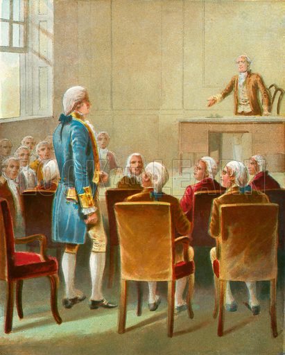 Washington chosen for Commander in Chief. Illustration for The Life of George Washington in Words of One Syllable (McLoughlin Brothers, c 1890).