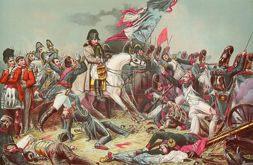 The Battle of Waterloo. Illustration for Footprints of the World's History by William Bryan (Historical Publishing, 1891).