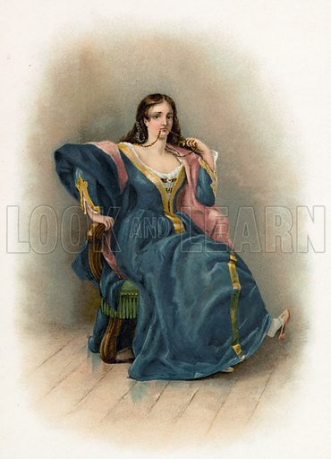 Katharina from the Taming of the Shrew. Illustration for Shakespeare's Heroes and Heroines (Raphael Tuck, c 1890).