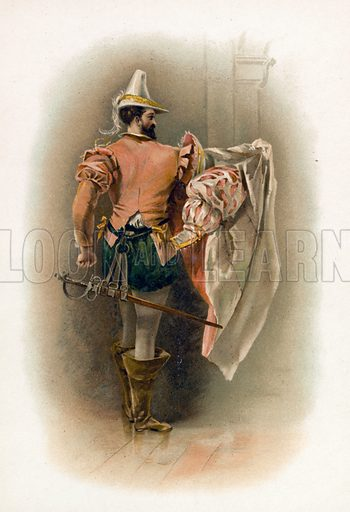 Petruchio from the Taming of the Shrew. Illustration for Shakespeare's Heroes and Heroines (Raphael Tuck, c 1890).