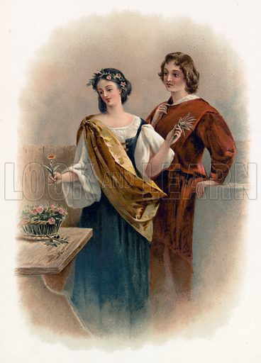 Florizel and Perdita from the Winter's Tale. Illustration for Shakespeare's Heroes and Heroines (Raphael Tuck, c 1890).