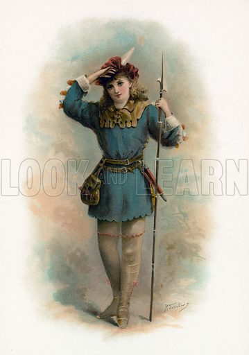 Rosalind from As You Like It. Illustration for Shakespeare's Heroes and Heroines (Raphael Tuck, c 1890).