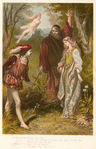 The Tempest. Illustration for The Complete Works of Shakspeare (John G Murdoch, 1877). Chromolithographs by Kronheim. Note: Highly distinctive screen effect. Scanned as is.