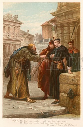 The Merchant of Venice.  Illustration for The Complete Works of Shakspeare (John G Murdoch, 1877).  Chromolithographs by Kronheim.  Note: Highly distinctive screen effect.  Scanned as is.