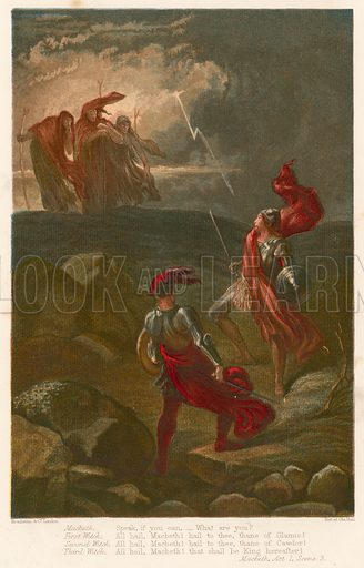 Macbeth. Illustration for The Complete Works of Shakspeare (John G Murdoch, 1877). Chromolithographs by Kronheim. Note: Highly distinctive screen effect. Scanned as is.