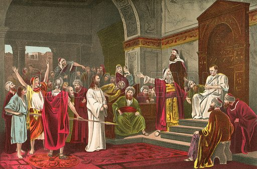 Christ before Pilate. Illustration for The Beautiful Story by JW Buel (Historical Publishing, 1890).