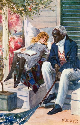 Uncle Tom and Eva. Illustration for Uncle Tom's Cabin by Harriet Beecher Stowe (Blackie, c 1910).