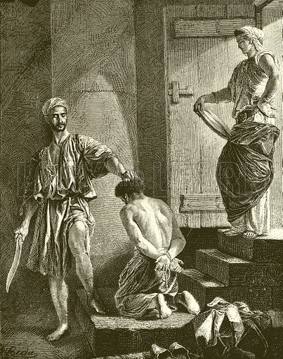 Execution of John the Baptist.  Illustration for The Life of Christ by Frederic W Farrar (Commonwealth Publishing, 1891).