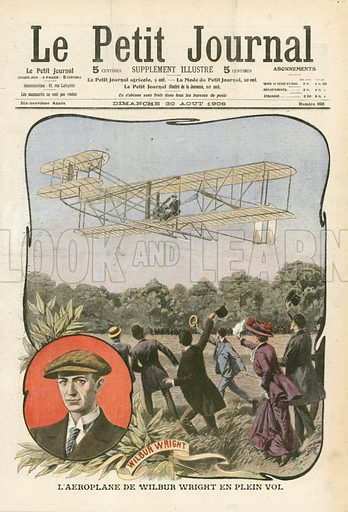 The plane of Wilbur Wright. lllustration for Le Petit Journal, 30 August 1908.