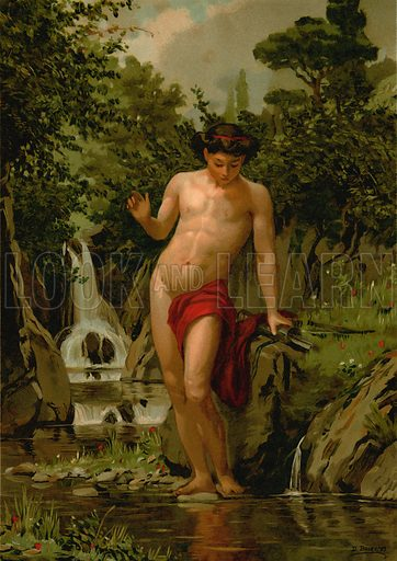 Narcissus in love with his own reflection. Illustration for La Civilizacion by Don Pelegrin Casabo Y Pages (Mir, Tarradas, Comas, 1881–82). Large chromolithograph.