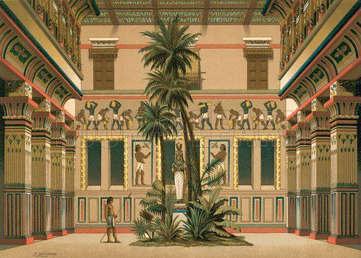 Courtyard of an Egyptian house. Illustration for La Civilizacion by Don Pelegrin Casabo Y Pages (Mir, Tarradas, Comas, 1881–82). Large chromolithograph.