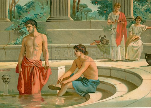 Telemachus and Pisistratus in the palace of Menelaus. Illustration for La Civilizacion by Don Pelegrin Casabo Y Pages (Mir, Tarradas, Comas, 1881–82). Large chromolithograph.