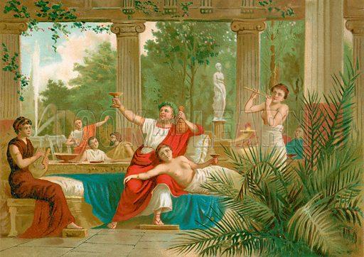 Nero in a Bachanalian scene. Illustration for La Civilizacion by Don Pelegrin Casabo Y Pages (Mir, Tarradas, Comas, 1881–82). Large chromolithograph.