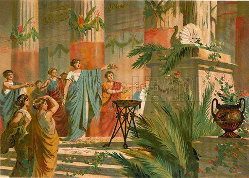 Festivities of Roman matrons. Illustration for La Civilizacion by Don Pelegrin Casabo Y Pages (Mir, Tarradas, Comas, 1881–82). Large chromolithograph.
