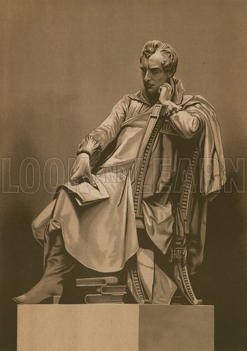 Lord Byron contemplating the liberty of the Greeks. Illustration for La Civilizacion by Don Pelegrin Casabo Y Pages (Mir, Tarradas, Comas, 1881–82). From the statue of Egidio Pozzi. Large chromolithograph.