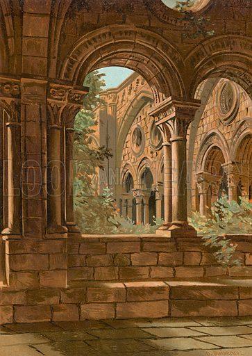 Byzantine cloister of Tarragona. Illustration for La Civilizacion by Don Pelegrin Casabo Y Pages (Mir, Tarradas, Comas, 1881–82). Large chromolithograph.
