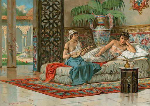 A slave in the harem. Illustration for La Civilizacion by Don Pelegrin Casabo Y Pages (Mir, Tarradas, Comas, 1881–82). Large chromolithograph.