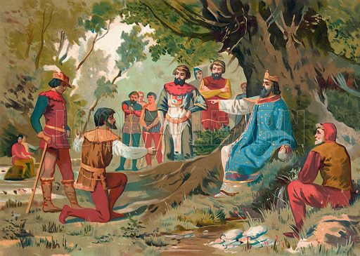Charlemagne administering justice in public. Illustration for La Civilizacion by Don Pelegrin Casabo Y Pages (Mir, Tarradas, Comas, 1881–82). Large chromolithograph.