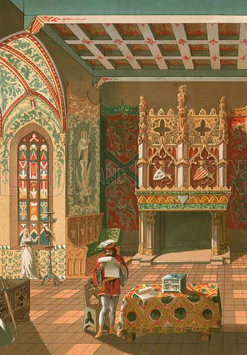 Salon of a feudal castle. Illustration for La Civilizacion by Don Pelegrin Casabo Y Pages (Mir, Tarradas, Comas, 1881–82). Large chromolithograph.