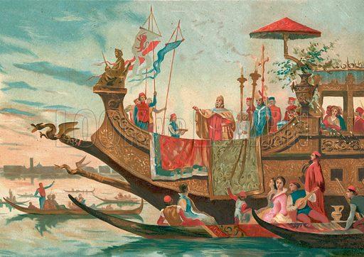 Wedding of Venice and the Adriatic. Illustration for La Civilizacion by Don Pelegrin Casabo Y Pages (Mir, Tarradas, Comas, 1881–82). Large chromolithograph.