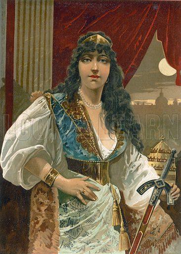 Empress Theodora. Illustration for Historia de Europa by Emilio Castelar (1896). Large chromolithograph.