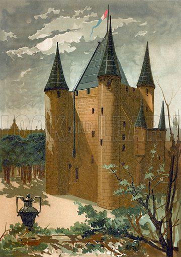 El Temple. Illustration for Historia de Europa by Emilio Castelar (1896). Large chromolithograph.