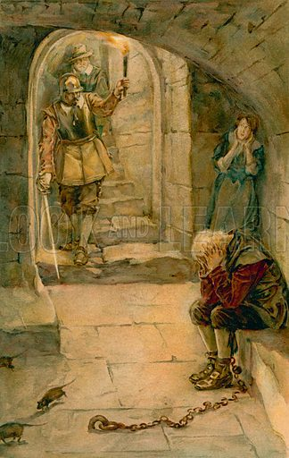 They Found one Mr Dispondency, almost Starved to Death, and one Much-Afraid his Daughter. Illustration for Pilgrim's Progress (Ernest Nister, c 1900).