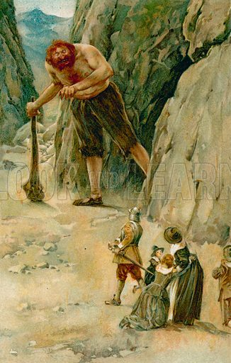 Mr Great-Heart Went to Meet the Giant, and as he Went he Drew his Sword. Illustration for Pilgrim's Progress (Ernest Nister, c 1900).
