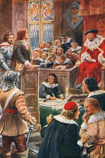 The Trial of Christian and Faithful.  Illustration for Pilgrim's Progress by John Bunyan (John F Shaw, c 1905).
