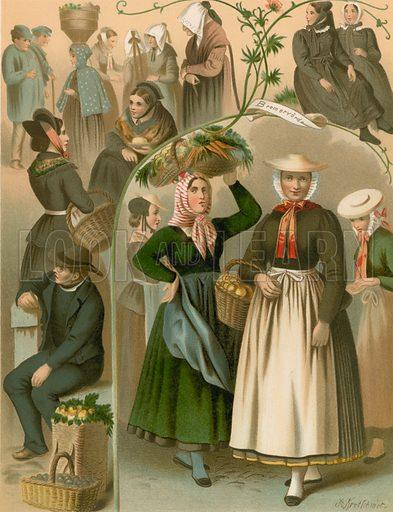 Imgebung von Hamburg und Bremen. Illustration for Deutsche Volkstrachen by Albert Kretschmer (JG Bach, 1887–90).