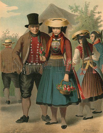 Vierlande. Illustration for Deutsche Volkstrachen by Albert Kretschmer (JG Bach, 1887–90).