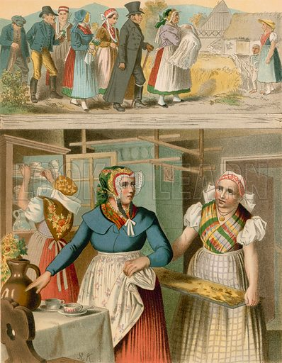 Preussen (Provinz Schlesien), Buchwald, Fischbach. Illustration for Deutsche Volkstrachen by Albert Kretschmer (JG Bach, 1887–90).