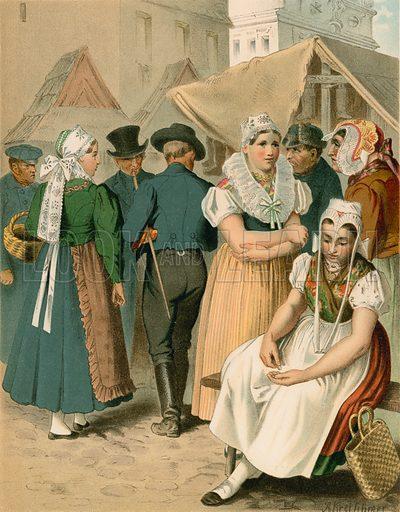 Preussen (Provinz Schlesien), Tannhausen. Illustration for Deutsche Volkstrachen by Albert Kretschmer (JG Bach, 1887–90).