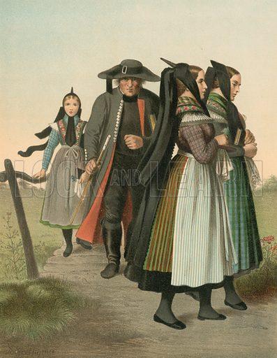 Hannover, Amt Gifhorn. Illustration for Deutsche Volkstrachen by Albert Kretschmer (JG Bach, 1887–90).