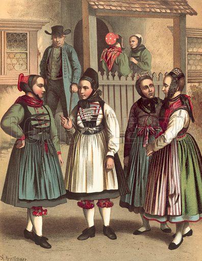Grossherzogthum Hessen, Amt Biedenkopf. Illustration for Deutsche Volkstrachen by Albert Kretschmer (JG Bach, 1887–90).