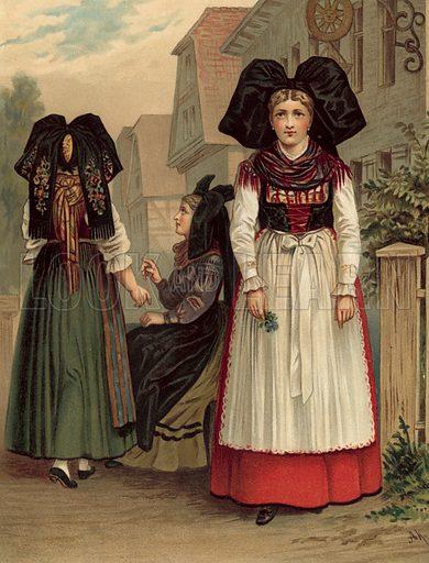 Elsass Geispolsheim. Illustration for Deutsche Volkstrachen by Albert Kretschmer (JG Bach, 1887–90).