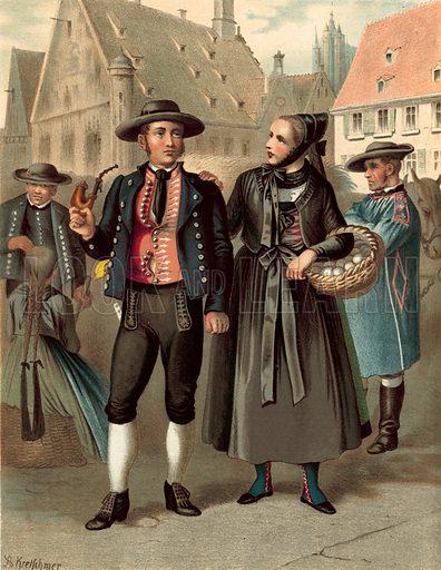 Wurtemberg Ulm. Illustration for Deutsche Volkstrachen by Albert Kretschmer (JG Bach, 1887–90).