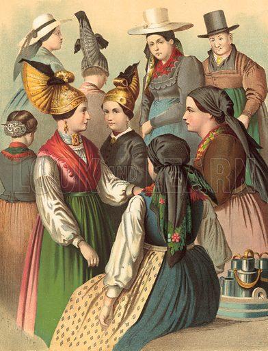 Oesterreich, Ober-Oesterreich. Illustration for Deutsche Volkstrachen by Albert Kretschmer (JG Bach, 1887–90).