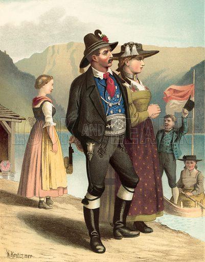 Tyrol, Achenkirch. Illustration for Deutsche Volkstrachen by Albert Kretschmer (JG Bach, 1887–90).