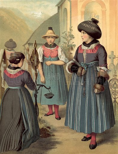 Tyrol, Passeyer. Illustration for Deutsche Volkstrachen by Albert Kretschmer (JG Bach, 1887–90).