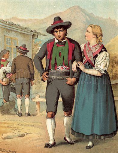 Tyrol, Meran. Illustration for Deutsche Volkstrachen by Albert Kretschmer (JG Bach, 1887–90).