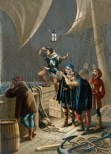 Columbus seeing a light indicating the proximity of land.  the Illustration for Cristobal Colon by Conde Roselly de Lorgues, translated into Spanish by D Pelegrin Casabo y Pages (D James Seix, 1878).  Large chromolithograph.