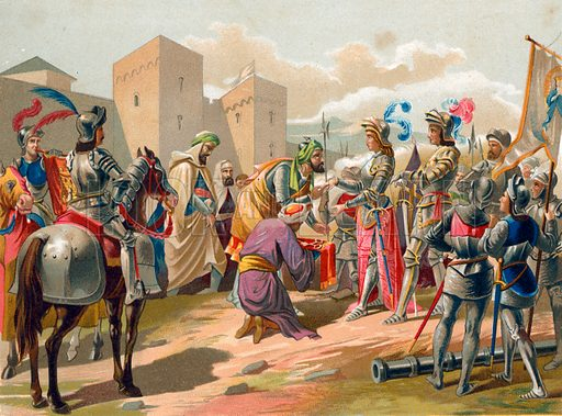 Boabdil surrenders Granada to the Catholic crown. Illustration for Cristobal Colon by Conde Roselly de Lorgues, translated into Spanish by D Pelegrin Casabo y Pages (D James Seix, 1878). Large chromolithograph.