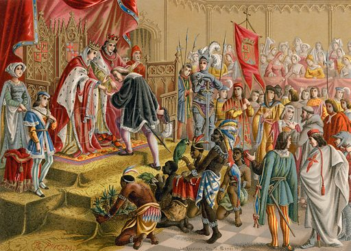 The Spanish Monarchs Receive Columbus In Barcelona After This First Voyage Illustration For Cristobal Colon