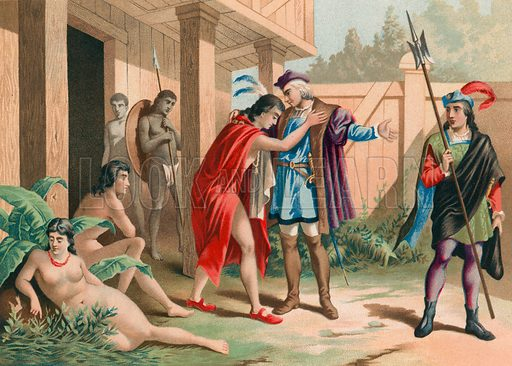 Columbus says goodbye to chief Guacanagarix in Hispaniola. Illustration for Cristobal Colon by Conde Roselly de Lorgues, translated into Spanish by D Pelegrin Casabo y Pages (D James Seix, 1878). Large chromolithograph.