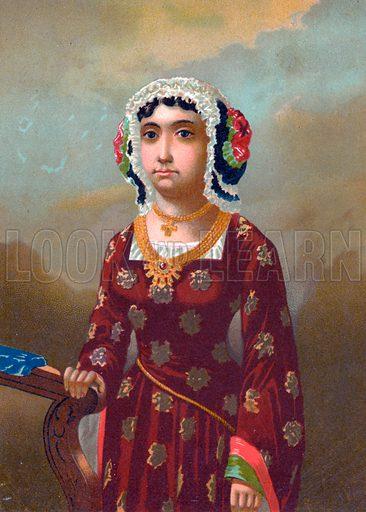 Beatriz Enriquez de Arana, mistress of Columbus. Illustration for Cristobal Colon by Conde Roselly de Lorgues, translated into Spanish by D Pelegrin Casabo y Pages (D James Seix, 1878). Large chromolithograph.