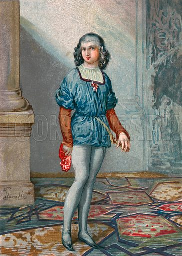 Ferdinand Columbus, second son of Columbus. Illustration for Cristobal Colon by Conde Roselly de Lorgues, translated into Spanish by D Pelegrin Casabo y Pages (D James Seix, 1878). Large chromolithograph.