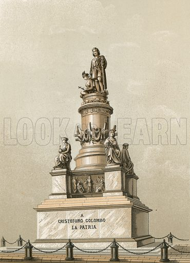 Monument to Columbus in Genoa. Illustration for Cristobal Colon by Conde Roselly de Lorgues, translated into Spanish by D Pelegrin Casabo y Pages (D James Seix, 1878). Large chromolithograph.