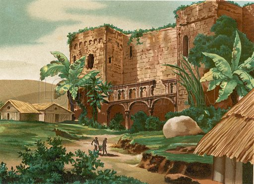 Ruins of the castle of Columbus in Santo Domingo. Illustration for Cristobal Colon by Conde Roselly de Lorgues, translated into Spanish by D Pelegrin Casabo y Pages (D James Seix, 1878). Large chromolithograph.
