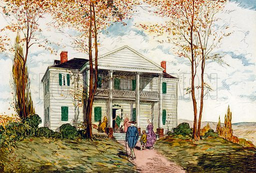The Jumel Mansion. Illustration for Famous Colonial Houses by Paul M Hollister (David McKay, 1921).